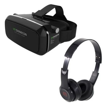 VR Box Shinecon Smartphone 3D Virtual Reality Glasses (Black) WithJ-03 Adjustable Stereo Smartphone Headset (Black) Price Philippines