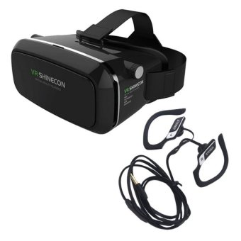 VR Box Shinecon Smartphone 3D Virtual Reality Glasses (Black) WithSF-A05 Headset (Black)