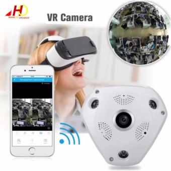 VR CAM 360 Degree 3D Panoramic CCTV Camera Wifi 960p HD Wireless VR IP Camera Remote Control Surveillance Camera P2P (White)