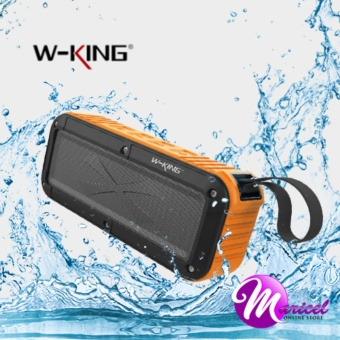 W-King S20 Waterproof, Dust-Proof, Shock-Proof Bluetooth Speaker with FM Radio/TF and AUX Slot (Black/Orange)
