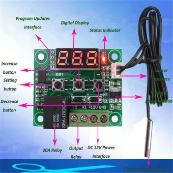 W1209 DC 12V Thermostat Temperature Control Switch RegulatorThermometer Sensor - intl