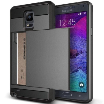 Wallet case Anti Scratch Heavy Duty Card Pocket Dual Layer Shockproof Soft Rubber Bumper Protective Hybrid Card Case Cover for Samsung Galaxy Note 4 - intl - 2