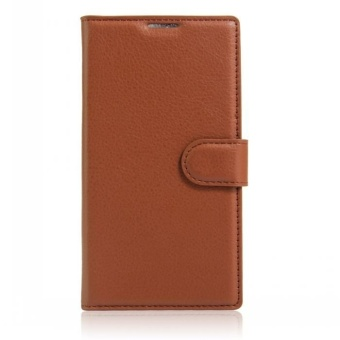 Wallet Flip Leather Case Cover For Alcatel Flash 2/Alcatel OneTouchFlash 2 (Brown) - intl