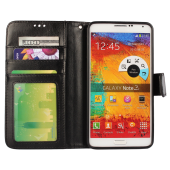 Wallet Flip Leather Case With Card Bag Holder For Samsung GalaxyNote 3 Black .