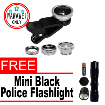 Wawawei 3in1 Universal Clip Lens for Mobile Phone (Black/Silver)with free Mini Police Flashlight