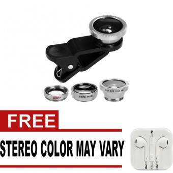Wawawei 3in1 Universal Clip Lens for Mobile Phone (Black/Silver)with free Stereo In-Ear Headphone (White)