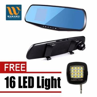 Wawawei LCD Rear View Mirror Car DVR Camera Recorder with free 16Led Mini Selfie Led Light (Color May Vary) Price Philippines