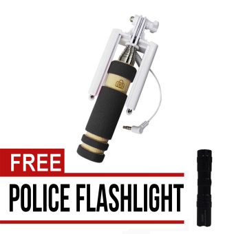 Wawawei MINI Foldable All-In-One Monopod with Remote Clicker(Black) with free Mini Black Police Flashlight