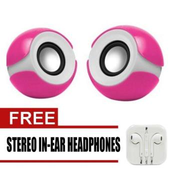 Wawawei Multimedia Mini Speaker (Pink) HT-122 with free Stereo