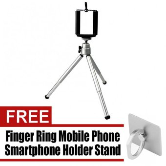 WAWAWEI Portable Stretchable Tabletop Bracket Tripod/Selfie Stick(Silver) with free Finger Ring Mobile Phone Holder Stand for iPhone(Silver)