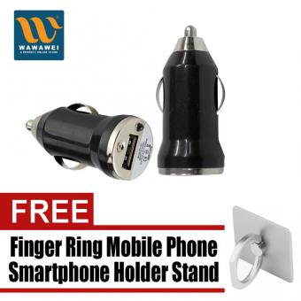 Wawawei Universal 5V 1A Mini USB Auto Car Charger Cigarette LighterAdapter (Black) with free Finger Ring Mobile Phone SmartphoneHolder Stand for iPhone (Silver)