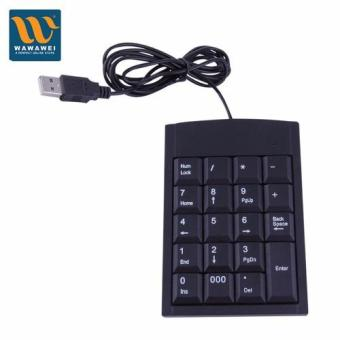 Wawawei USB Wired Numeric Keyboard Adapter 19 Keys for Laptop PC