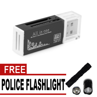 Wawawei WU-001 All In One Mini Multi USB 2.0 Micro SD SDHC TF MMCM2 MS Memory Card Reader with free Mini Black Police Flashlight