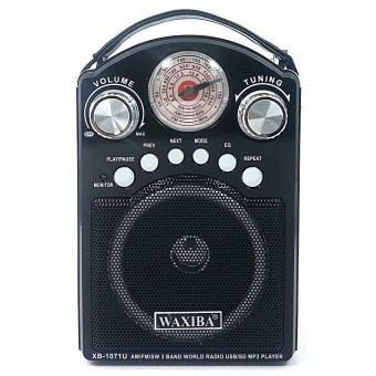 Waxiba XB-1071U AM/FM/SW Radio With USB/SD MP3 Playback andTorchlight (Black) - 2