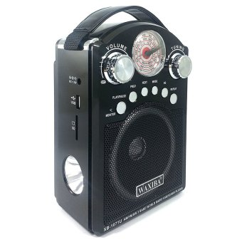 Waxiba XB-1071U AM/FM/SW Radio With USB/SD MP3 Playback andTorchlight (Black)