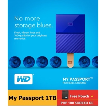 WD My Passport 2017 1TB USB 3.0 Portable Hard Drive (Blue) with FREE Pouch, WD Kroll OnTrack and P100 GC
