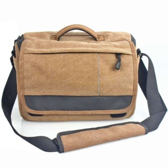 Werproof Travel Bag Khaki Gray Canvas DSLR Camera Shoulder Bag forCanon 600d 650d 700d 760d 750d 1000D 1100D 1200D - intl