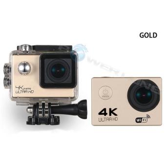 WIFI Video Camera 4K HD 1080P 16MP Helmet Sport Action Waterproof DV Cam for Gopro (Gold)