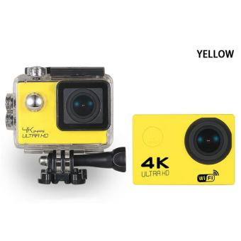 WIFI Video Camera 4K HD 1080P 16MP Helmet Sport Action Waterproof DV Cam for Gopro (Yellow)
