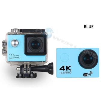 WIFI Video Camera 4K HD 1080P 16MP Helmet Sport Action WaterproofDV Cam for Gopro (Blue)