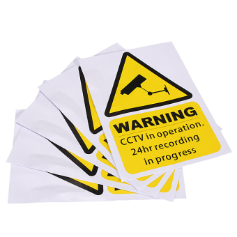 Window Warning Stickers Signs Decal CCTV In Operation Security Camera Home set of 5