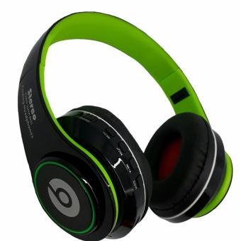 Wireless Bluetooth Beats FM/MP3 with LED light Stereo headphones(Green/black)
