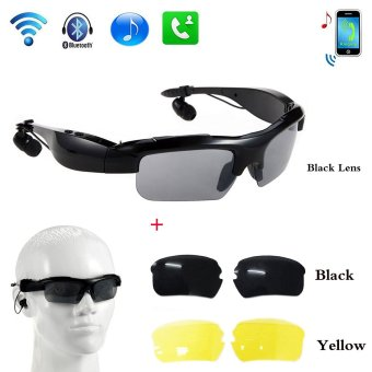 Wireless Motorcycle Bluetooth Sunglasses Sun Glasses Music HeadsetsHeadphones for iPhone Samsung Bluetooth Devices+Free Replaceable 2pair lens (Yellow,Black) (black)