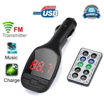 Wireless MP3 Player Auto FM Transmitter Modulator LCD Car Kit USBCharger SD MMC Remote - intl