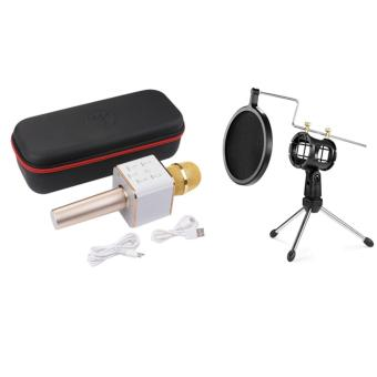 Wireless Q7 Karaoke Microphone, Portable Handheld BluetoothCondenser Microphone and Speaker Iphone and Android by Finity(Gold) With Universal Shock Mount Suspension Mount Stand Holderwith Filter for Microphone