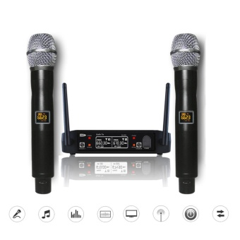 Wireless UHF Professional Microphone 2-Channel Dual LCD Handheld Mic System Kits US PLUG - intl
