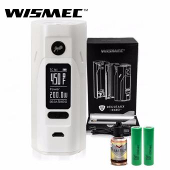 Wismec Reuleaux RX2/3 200W Variable Electronic Cigarette Mod (White/Silver) with 30ml Premium Quality E-Juice (Flavor May Vary) & LHR Shrek 2500mAh or 2600mah INR18650 Battery