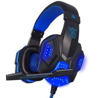 With Mic LED Light 3.5mm Gaming Headphone Headset Earphone Mic Stereo Bass(Blue)