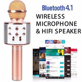 WS-858 Wireless Karaoke Bluetooth Microphone HIFI Speaker (Rose Gold) - 2