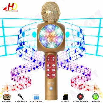 WS1816 Flash LED Lights Wireless Bluetooth Microphone Hi-Fi Speaker for Mobile Phones (Gold)