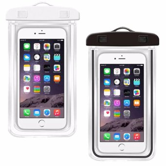 WW-0011 Universal Waterproof Glow in the Dark Bag Pouch Case forMobile Phone (White/Black)Set of 2
