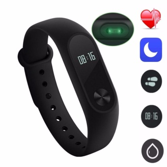 Xiaomi Mi Band 2 with OLED Display Touchpad Smart Heart Rate Monitor Fitness Tracker Pedometer Waterproof Wireless Bluetooth 4.0 (Black)