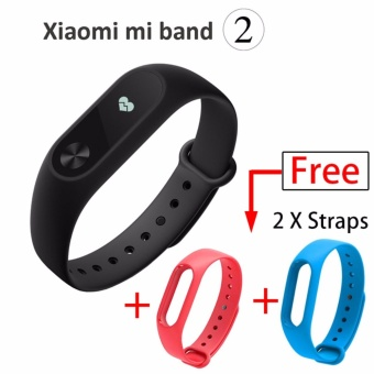 Xiaomi Mi Band 2 Wristband Bracelet Smart Heart Rate Fitness Tracker OLED Display + Blue&Red Replacement Strip