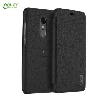 Xiaomi Redmi Note 4X Case, Lenuo Lemeng Ultra Thin Crash Proof SlimFit Flip Up Inside Card Slot PU Leather Cover Soft PC ProtectiveShell Integrated Back Case for Xiaomi Redmi Note 4X - Black - intl