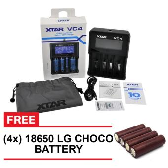 XTAR VC4 USB Li-ion / Ni-MH Premium Battery LCD Charger - VapeCharger with Pouch with 4 pieces LG CHOCO BATTERY