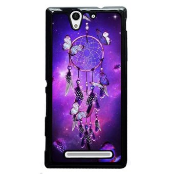 Y&M Purple Dream Cather Butterfly Phone Case for SONY Xperia C3(Black)