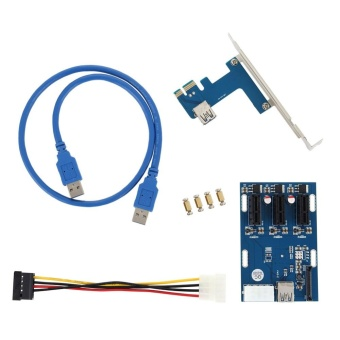 YBC PCI-E 1X Expansion Kit 1 to 3 Ports Switch Multiplier Hub RiserCard - intl