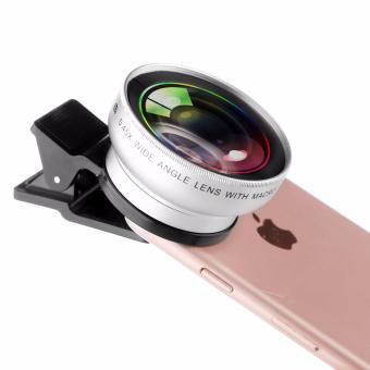 YG Clip Lens 2 in 1 Professional HD 37mm 0.45X Super Wide Angle +12.5X Macro Lens for Mobile Phone Camera Lens 49UV (Silver)