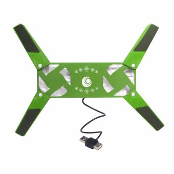 YL-818 Foldable Laptop Notebook Cooling Pad 2-Fan (Green)