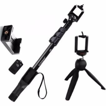 Yunteng YT-1288 42.5cm Bluetooth Selfie Monopod Extendable Handheld Pole with Shutter Remote Control (Black) with YT_288 Tripod (Black)