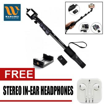 Yunteng YT-1288 42.5cm Bluetooth Selfie Monopod Extendable HandheldPole with Shutter Remote Control (Black) with free Stereo In-EarHeadphone (Color May Vary)
