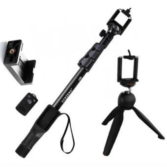Yunteng YT-1288 42.5cm Bluetooth Selfie Monopod Extendable HandheldPole with Shutter Remote Control (Black) With YT_288 Tripod (Black)