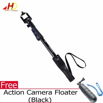 Yunteng YT-1288 Bluetooth Selfie Monopod Selfie Stick ExtendableHandheld Pole with Shutter Remote Control (Black) with FREE ActionCamera Floater (Black)