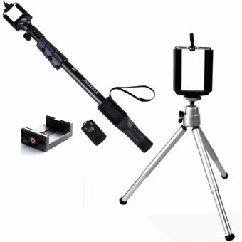 Yunteng YT-1288 Deluxed Bluetooth Wireless Camera Monopod (Black)With stainless steel Tripod Stretchable Tabletop Bracket PortableHolder Selfie Stick (Silver)