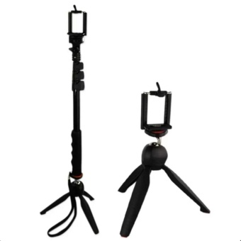 YunTeng YT-188 Universal Monopod for Mobile Phones and SportsCameras (Black) with Yunteng YT-228 Tripod (Black)