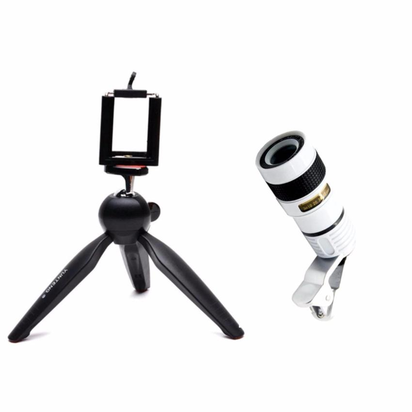 Yunteng YT-228 Mini Tripod for Mobile Phones and Sports CamerasGoPro Hero, SJCAM, Yi, SooCoo, etc. (Black) with Universal 8X ZoomOptical Lens Telescope fo Mobile Smartphone (White)
